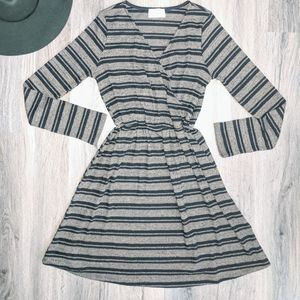 Everly Brown & Black Striped Long Sleeve Dress S